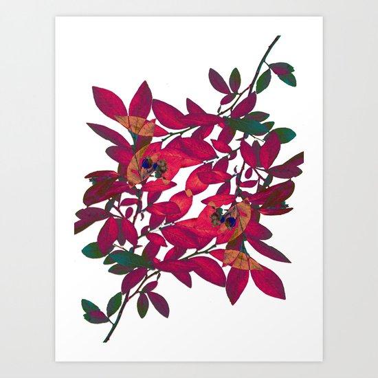 Blueberry branch - Pink Art Print