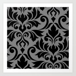 Flourish Damask Art I Black on Gray Art Print