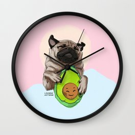 Pug and Avocado Wall Clock