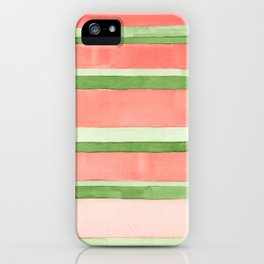 Pink and Green Stripes iPhone Case