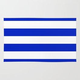 Cobalt Blue and White Wide Cabana Tent Stripe Rug