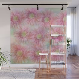 Pink daisies on a pastel background. Wall Mural