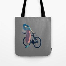 Bicycle Blue Hair Girl Tote Bag