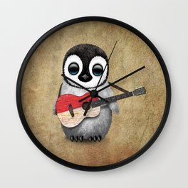 Baby Penguin Playing Indonesian Flag Acoustic Guitar Wall Clock