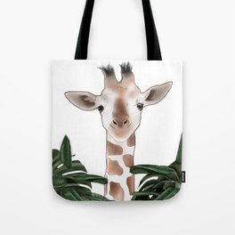Giraffe above the trees Tote Bag