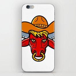 Bull Cowboy Hat Mono Line Art iPhone Skin
