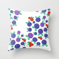 finland Throw Pillows featuring Berry Picking in Finland by Studio Spotnik