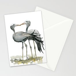 South African Blue Cranes Watercolor Painting Print Stationery Cards