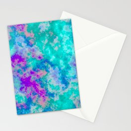 Turquoise and purple cloud art Stationery Cards
