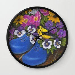 Goldfinch and Blue Garden Clogs Wall Clock