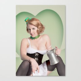 """""""Luck of the Irish"""" - The Playful Pinup - St. Patrick's Day Pinup Girl by Maxwell H. Johnson Canvas Print"""