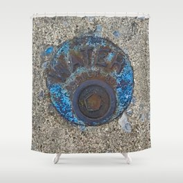 Blue Water Yellow Line Shower Curtain
