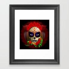 Skull Girl Dia de los Muertos Portrait Framed Art Print