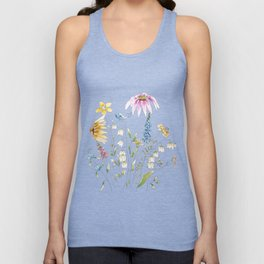 wild flowers and blue bird _ink and watercolor 1 Unisex Tank Top