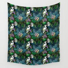 Egret In A Bog Garden Under A Full Moon Wall Tapestry