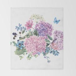 Summer Vintage Hydrangea Throw Blanket