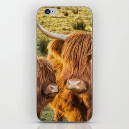 Mother and child. Highland Cows of Scotland....(heilan coo's) iPhone Skin