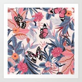 PINK BUTTERFLY PATTERN Art Print