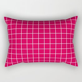 Carmine (M&P) - fuchsia color - White Lines Grid Pattern Rectangular Pillow
