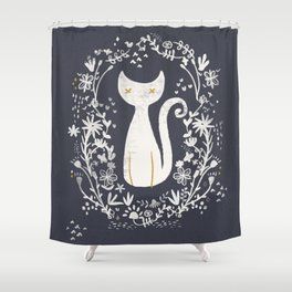 abstract kitty Shower Curtain