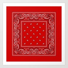 Bandana in Red - Classic Red Bandana  Art Print