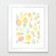 Watercolor Pineapple Painting  Framed Art Print