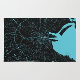 Dublin Ireland Black on Turquoise Street Map Rug