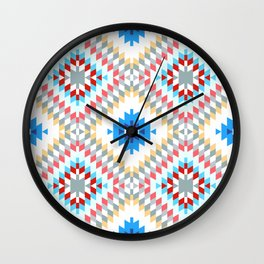 Colorful patchwork mosaic oriental kilim rug with traditional folk geometric ornament Wall Clock