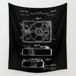 Turntable Patent - White on Black Wall Tapestry