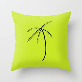 Palm Tree Illustration Neon Green Throw Pillow