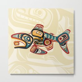 Salish Salmon Metal Print