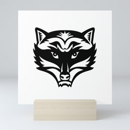 Head of an Angry North American Raccoon Front View Mascot Black and White Mini Art Print