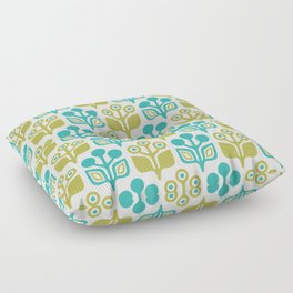 Mid Century Garden Flower Pattern Turquoise Chartreuse Floor Pillow
