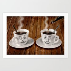 Hot Coffee Time in the Kitchen Art Print