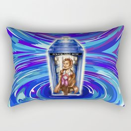 11th Doctor with Blue Phone box in time vortex Rectangular Pillow