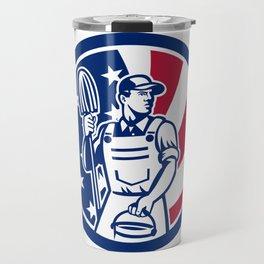 American Professional Cleaner USA Flag Icon Travel Mug