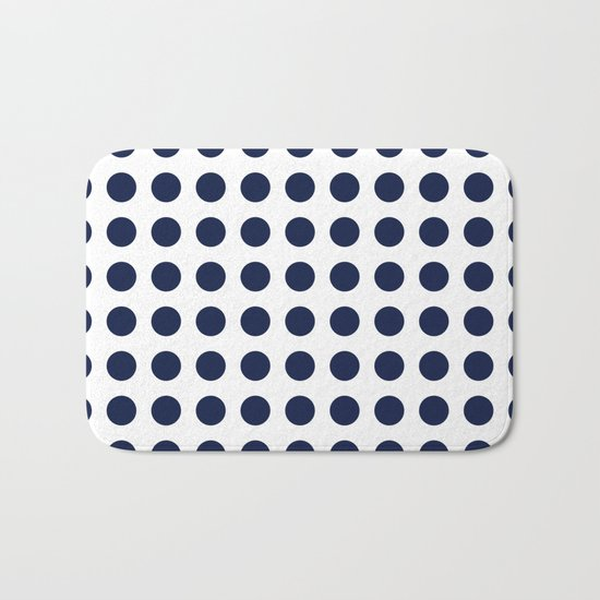 Simply Polka Dots in Nautical Navy Blue Bath Mat