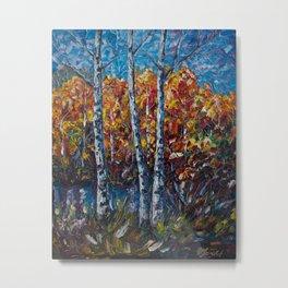 Autumn Forest River  (Palette Knife) Metal Print