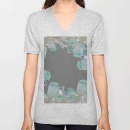 GEMMY CRYSTALS GREY ART Unisex V-Neck