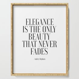 FASHION PRINT, Elegance Is The Only Beauty That Never Fades, Audrey Hepburn Quote,Girls Room Decor,G Serving Tray