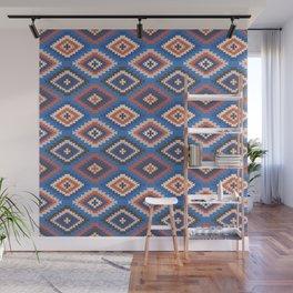 Boho Print - tile, boho, moroccan, kilim print, classic blue, earth tone, rust, kilim home decor Wall Mural
