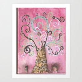 Pink tree of life Art Print