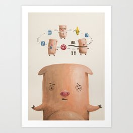 Multiple virtual personalities Art Print