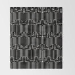 Art Deco Arch Pattern V - Black & White Throw Blanket