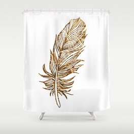 Golden Feather Shower Curtain
