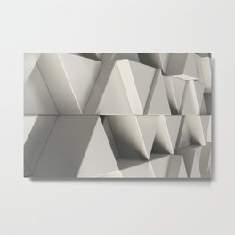 Pattern of white triangle prisms Metal Print