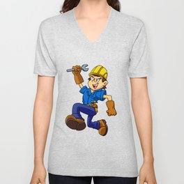 Running man with a wrench Unisex V-Neck