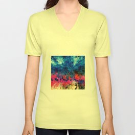 Bright Blues and Pinks Pattern Abstract Unisex V-Neck