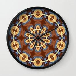 Blue Wood Kaleido Pattern Wall Clock