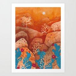 Sunset landscape & cactus Art Print